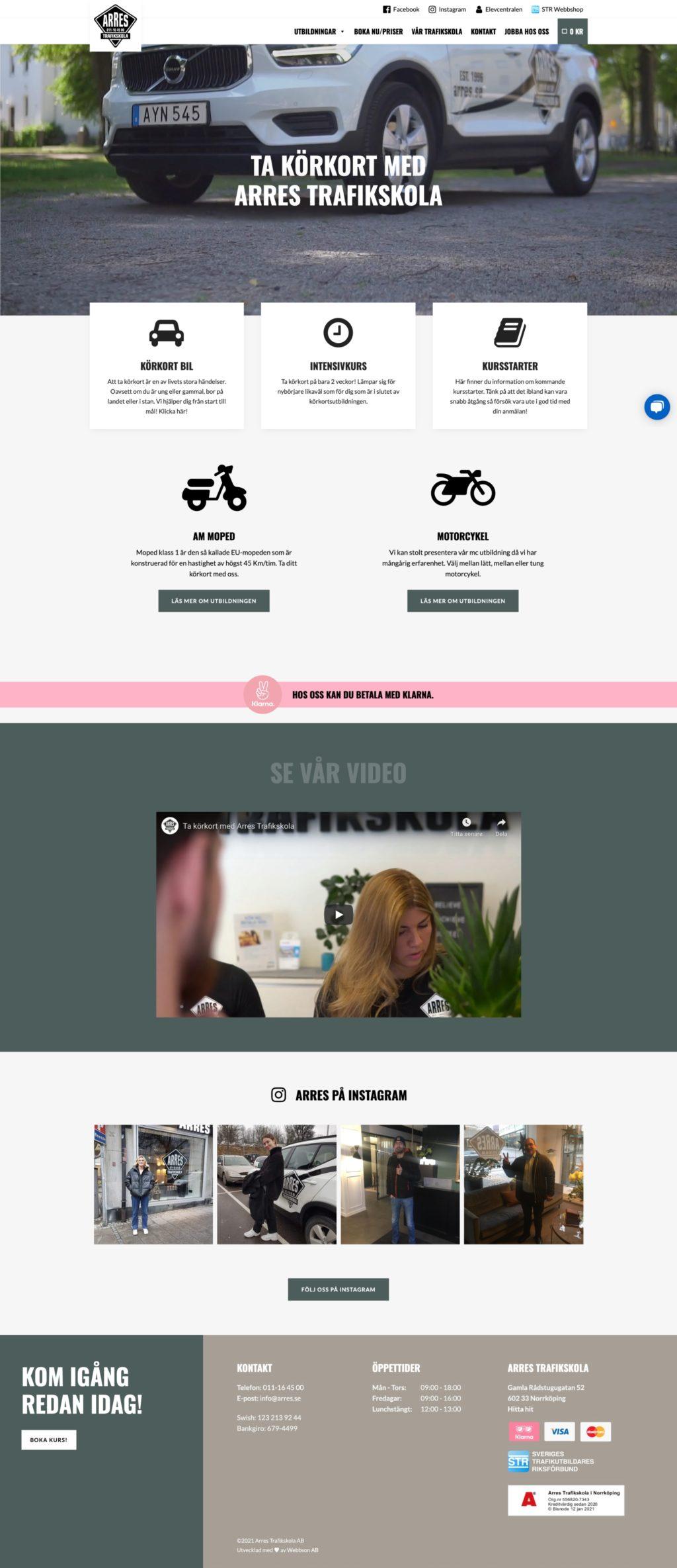 Webbson AB bygger en mobilanpassad hemsida till Arres trafikskola i Norrköping